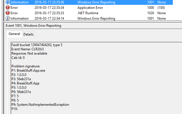where is the application event log